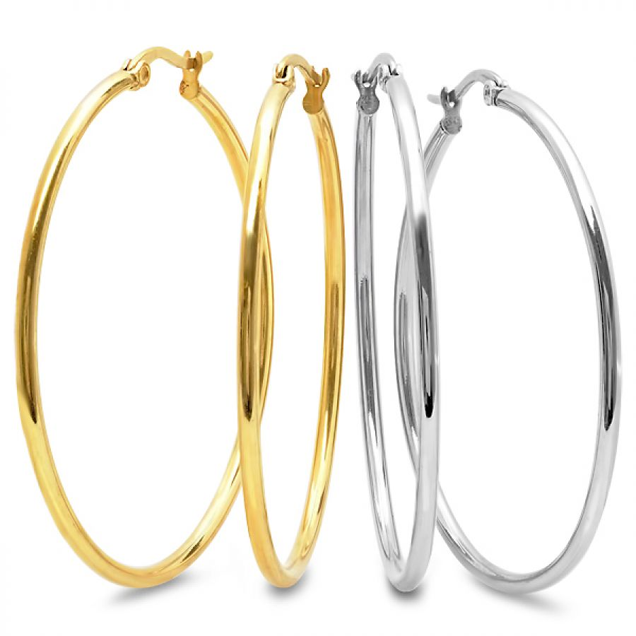 Ladies Pack of 2 50mm Hoop Earrings in Silver-Tone & 18 KT Gold Plated