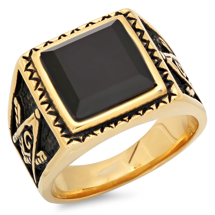 Men's 18 KT wholesale Gold Plated Masonic Ring with Genuine Onyx