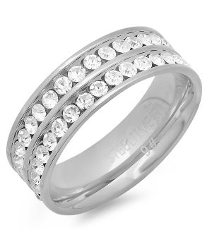 Stainless Steel Ring with Simulated Diamonds