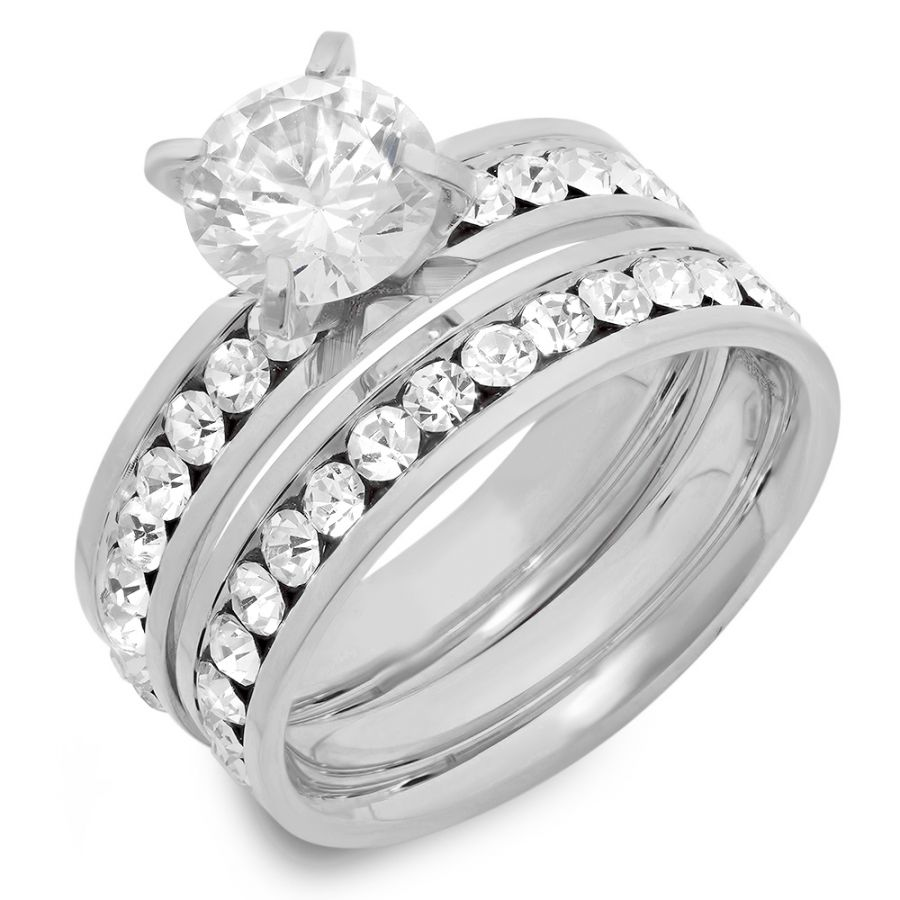 Stainless Steel Engagement Wedding Ring Set CZ Stones