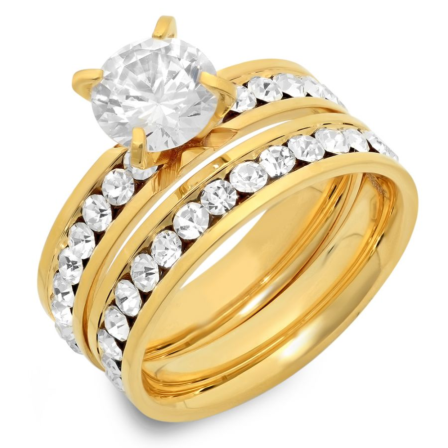 18kt Plated Stainless Engagement Wedding Ring Set CZ's