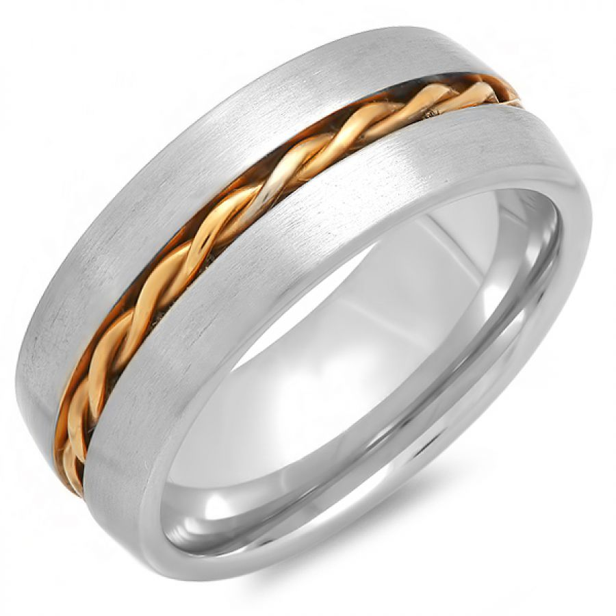 Stainless Steel Two Tone BraidRing