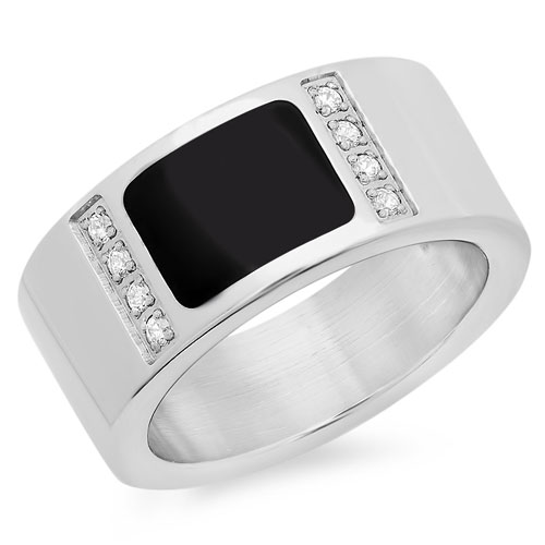 Stainless steel wholesale ring in jet black