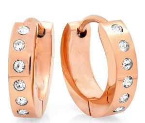 Rose Plated Gold Hoops with Simulated Diamonds