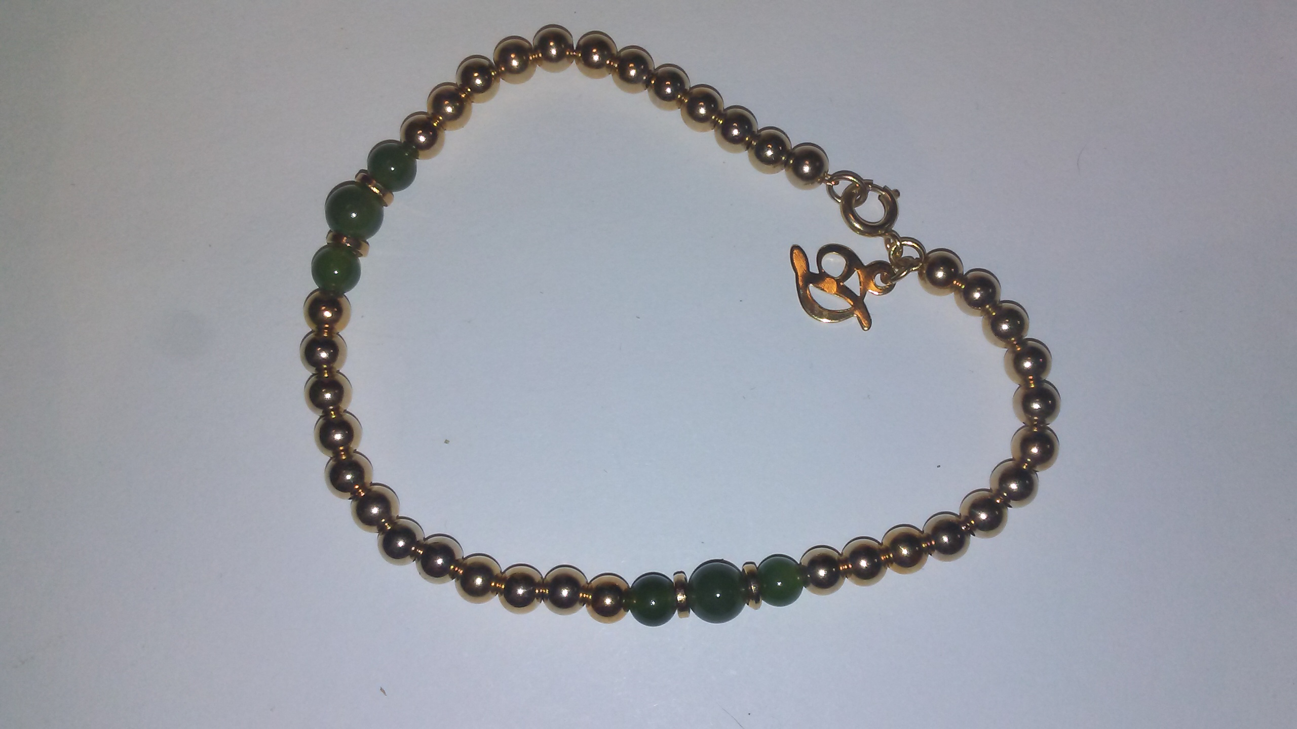 Gold+Filled+Beads+and+Genuine+Green+Jade+Bracelet+