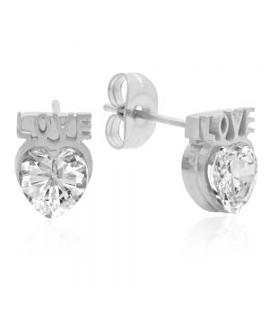 Stainless Steel Stud Earrings With CZ Heart Shape Stones and Love Accent