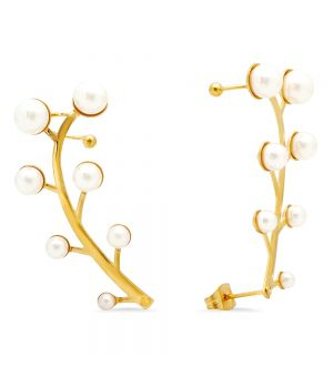 Steel Climber Cuff Earrings With Simulated Pearls