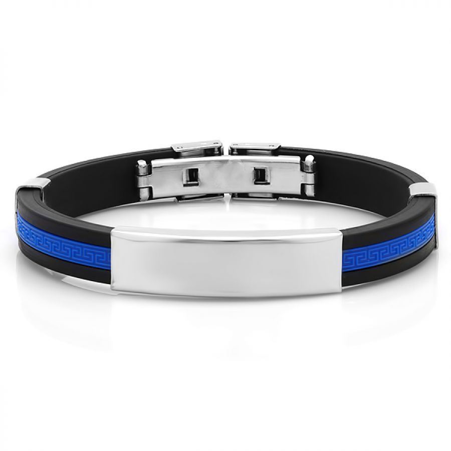 Men's Rubber Wholesale Bracelet in Black and Blue