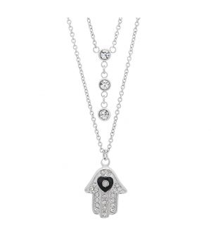 Ladies Stainless Steel Hamsa and CZ Stones Necklace two necklaces