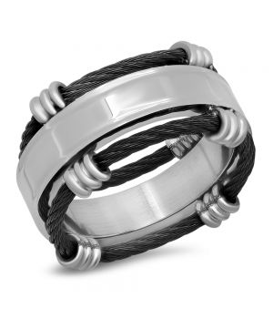Men's Stainless Steel Ring and Black IP Wire Ring