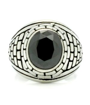 Steel Ring with Simulated Black Stone