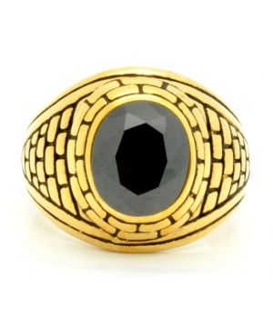 Gold Plated Ring with Simulated Black Stone  18 Kt
