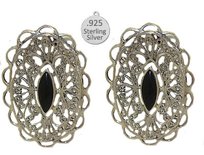 Wholesale Sterling Silver CONCH Earrings Genuine Black Onyx