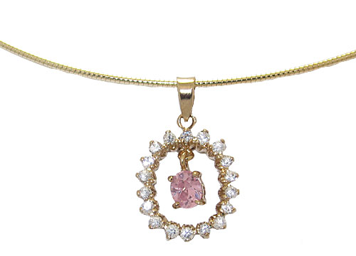 Sterling Silver 24 Kt Gold Pink Ice Pendant on Omega Chain