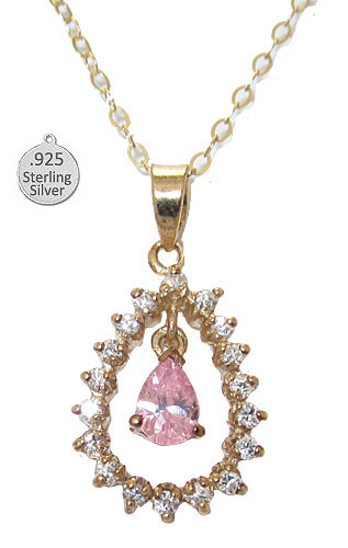 Sterling Silver 24 Karat Gold Pink Ice Pendant wholesale jewelry
