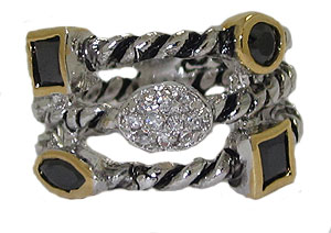 Triple Row Cz Cable Ring Austrian Crystal Jet Black