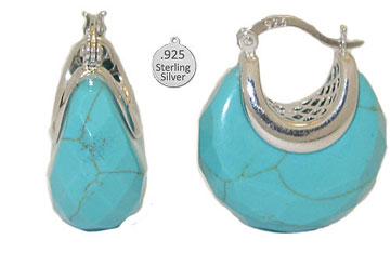 Genuine Turquoise set in 925 Sterling Silver Earring