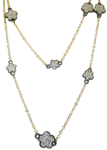 MX Signature Collection Necklace in yellow gold & gun metal in Cz
