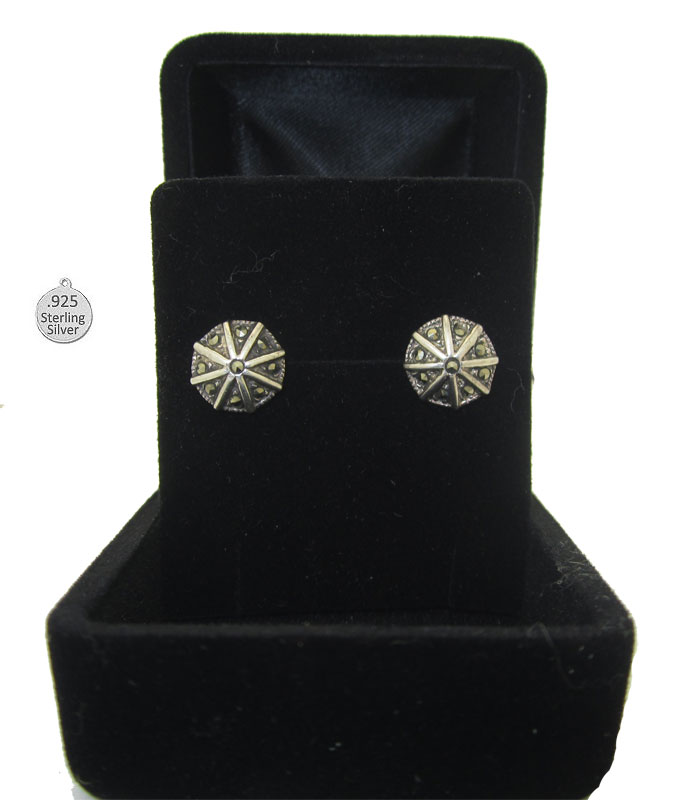 925 Wholesale Sterling Silver Octagon Stud Earrings Boxed