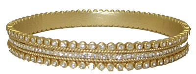Gold MX Signature Bangle Bracelet set w Cz's