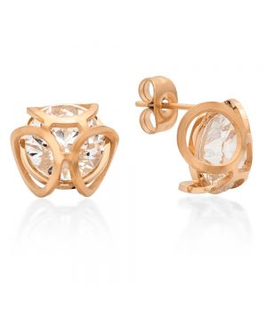 18kt Rose Gold Plated Stainless Steel Stud Earrings With CZ Stones