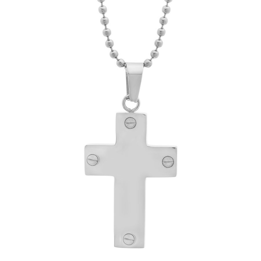 Stainless Steel Cross Pendant with screw accent and Chain