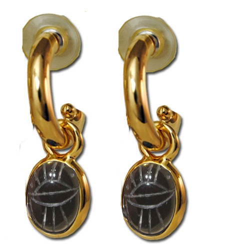 Stunning Scarab & Gold plated hoop drop earrings black onyx