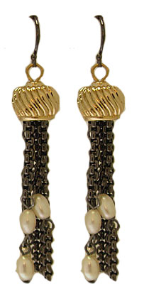 MX Signature Collection Pearl Earring Gunmetal & Gold