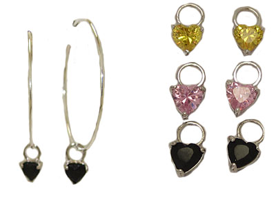 3 Pairs of Charms with Hoop Earrings