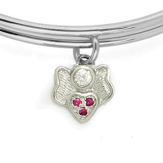 Expandble Bracelet in Sterling Plate & Sterling Charm ANGLE HEART