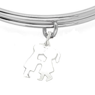 Expandble Bracelet in Sterling Plate & Sterling Charm KISSING KIDS