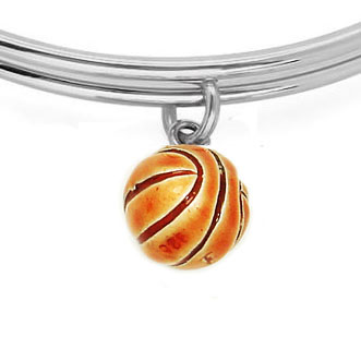 Expandble Bracelet in Sterling Plate & Sterling Charm Basketball