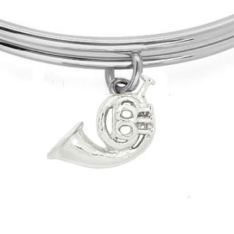 Expandble Bracelet in Sterling Plate & Sterling Charm french horn