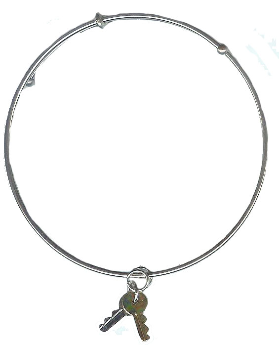 Expandble Bracelet in Sterling Plate & Sterling Charm Key