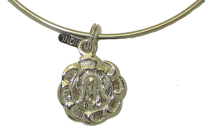 Expandble Bracelet in Sterling Plate & Sterling Charm Jesus