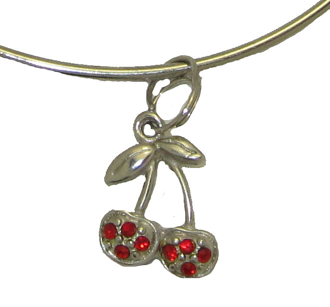 Expandble Bracelet in Sterling Plate & Sterling Charm Cherries