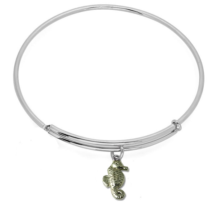 Expandble Bracelet in Sterling Plate & Sterling Charm Sea Horse