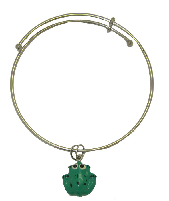 Expandble Bracelet in Sterling Plate & Sterling Charm Frog