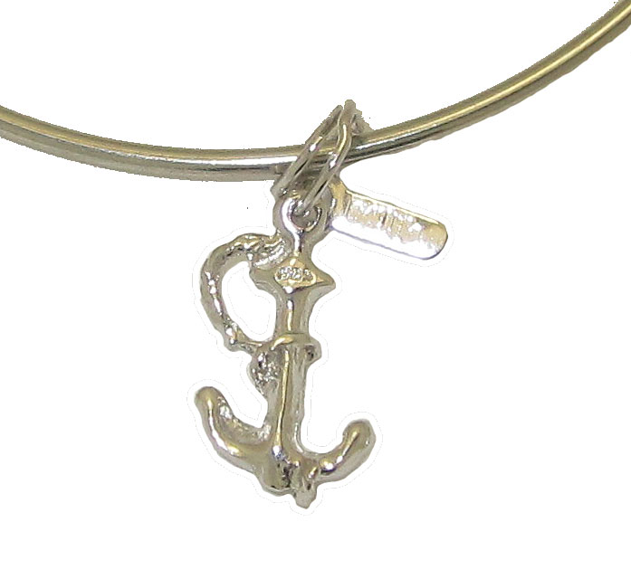 Expandble Bracelet in Sterling Plate & Sterling Charm Anchor