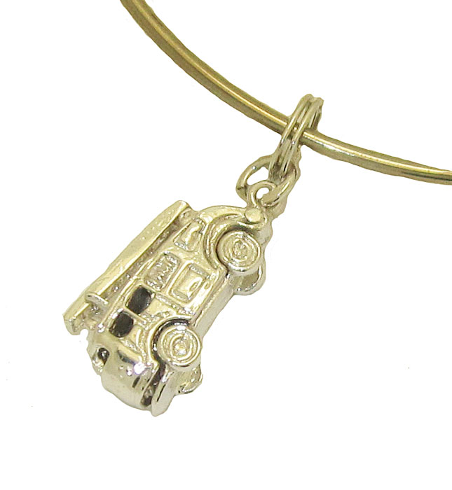 Expandble Bracelet in Sterling Plate & Sterling Charm Fire Engine