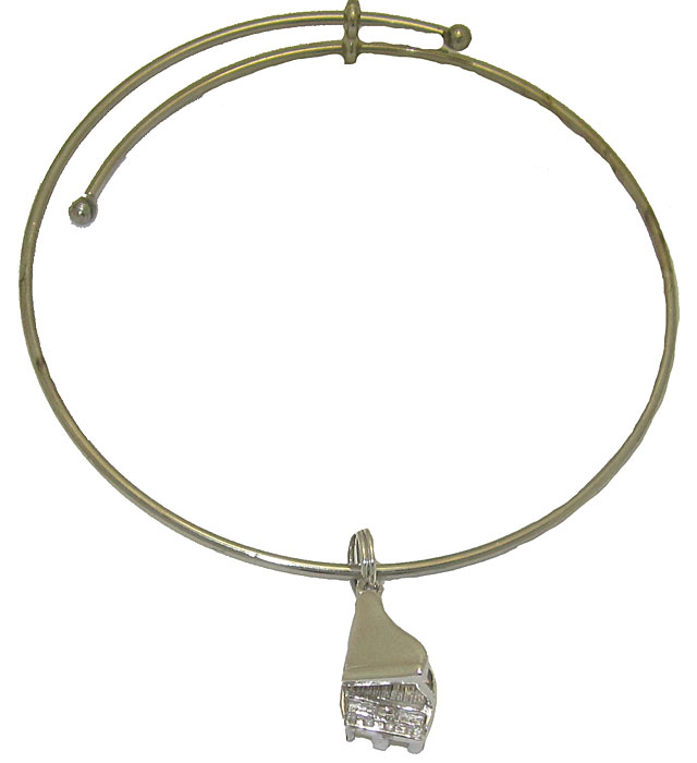 Expandble Bracelet in Sterling Plate & Sterling Charm Piano