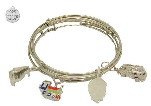 Expandble Bangle in Sterling Plate & Sterling Charm