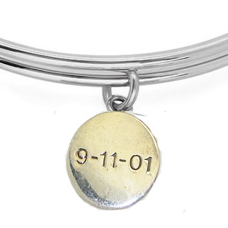 Expandble Bracelet in Sterling Plate & Sterling Charm 9/11
