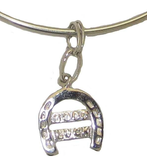 Expandble Bracelet in Sterling Plate & Sterling Charm Good Luck