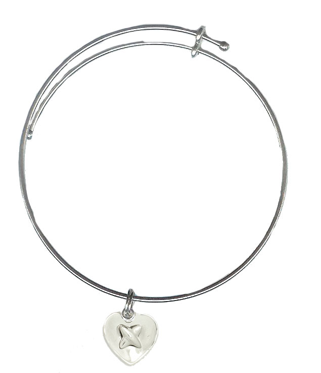 Expandble Bracelet in Sterling Plate & Sterling Charm Heart