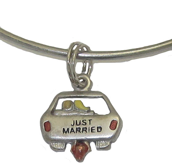 Expandble Bracelet in Sterling Plate & Sterling Charm Just Married