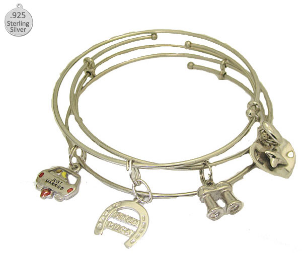 Expandable Bangle comes with Sterling Charm