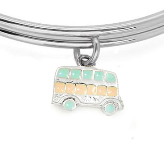 Expandble Bracelet in Sterling Plate & Sterling Charm Bus