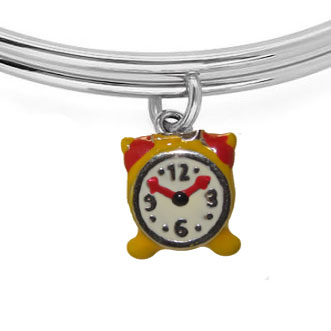 Expandble Bracelet in Sterling Plate & Sterling Charm Clock