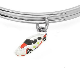 Expandble Bracelet in Sterling Plate & Sterling Charm Racing Car